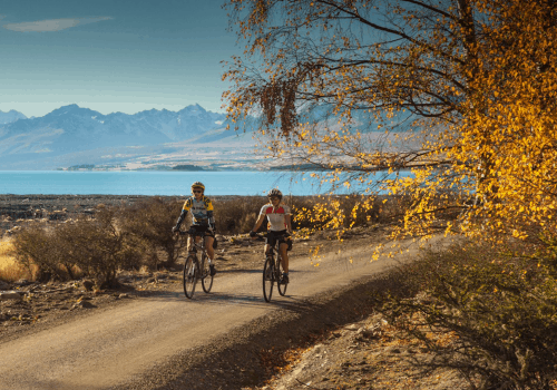cyclists cycle on a path surrounded by mountains and lakes in New Zealand's Alps