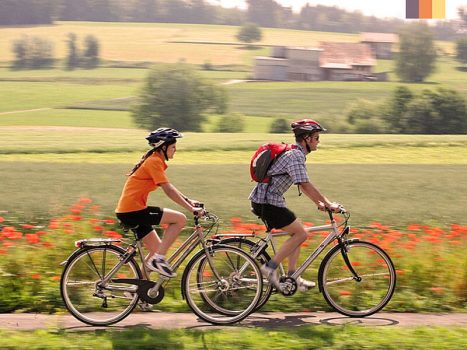 2 Cyclists ride along the Poppies fields