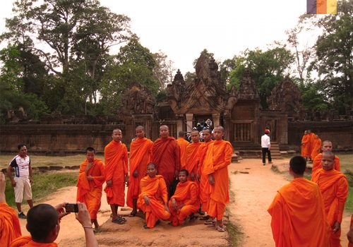 Young monks take a picture