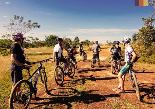 Group of Cyclists in Cambodian desert