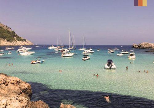 Boats at the Cala Mesquida beach in Mallorca