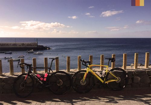 Bikes stands at the coast in Tenerife