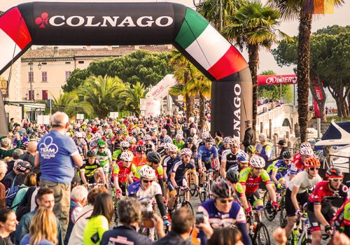 Cyclists taking part of the Colnago festival