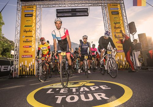 Cyclists at the start of the Etape du Tour