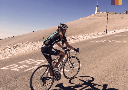 Female cyclist climbing Mont ventoux, france