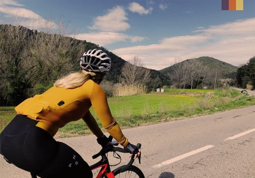 Cyclist rides at the Els Ãngels loop in Girona