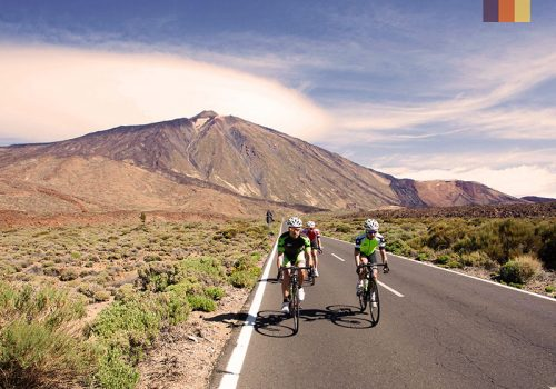 Cyclists ride in the mountainous landscape