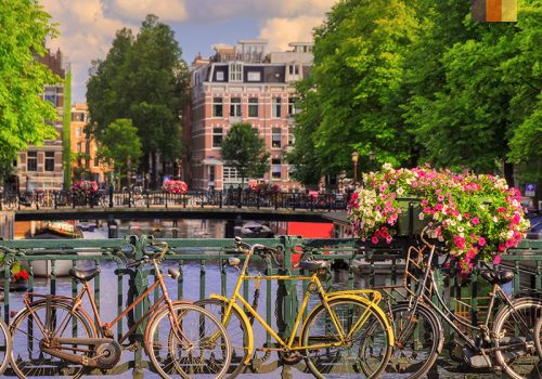 Bikes in front of a Holland bridge
