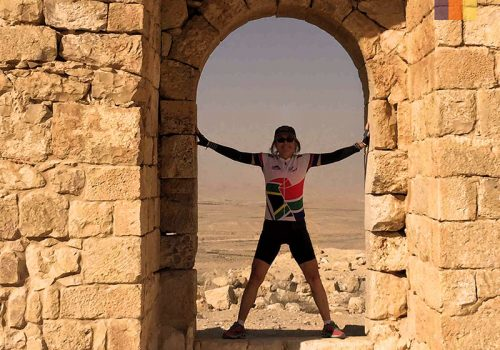 Cyclist on a temple in Israel