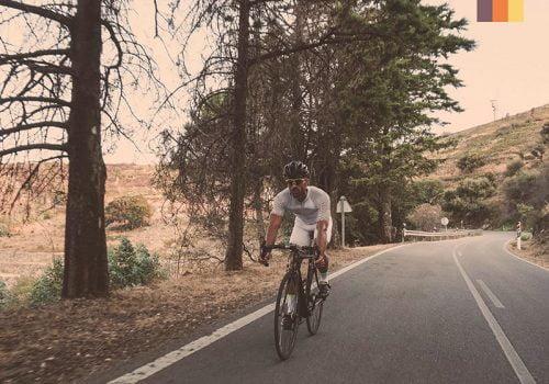 Cyclist rides at the Nove Colli climb