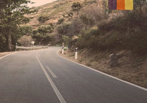 Cyclist rides at the roads in Portugal
