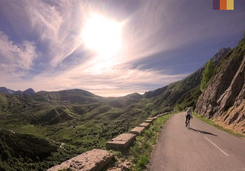Cyclist rides on the climbs of the pyrenees