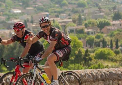 3 road cyclists cycling in Mallorca