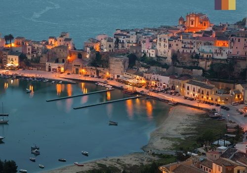 View of Sicily at night