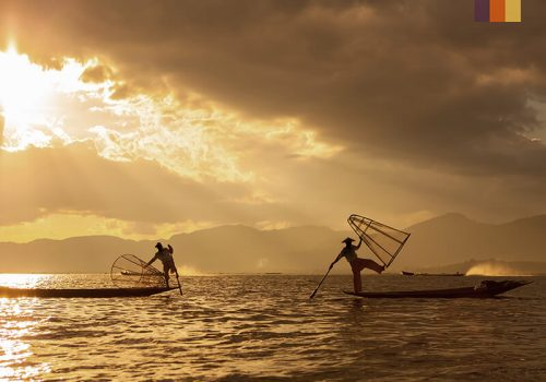 Fishers at the sea in Japan