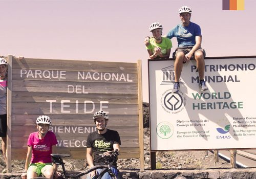 Cyclists take a pic at the National del Teide Parc