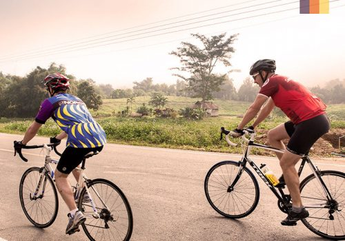 Cyclists ride at roads of Thailand
