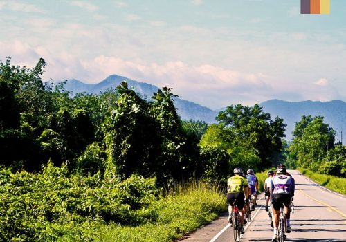 Cyclists riding through Thailand