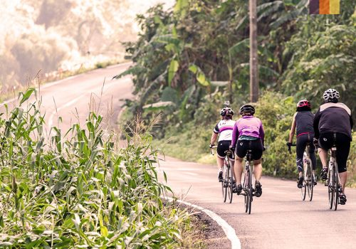 Cyclists ride in Thailand