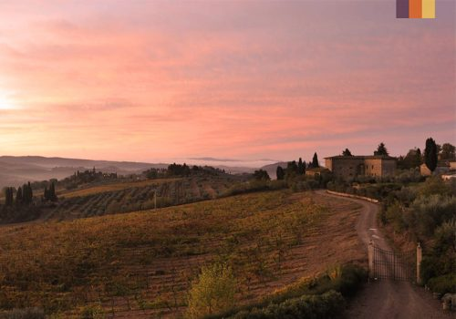 Sunset at the Landscape of Tuscany