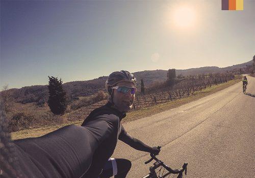 Cyclist takes a selfie