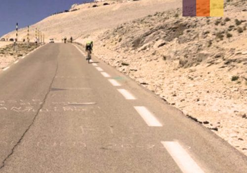 Cyclist rides to the top of the Mont Ventoux