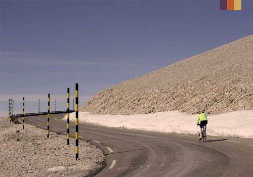 Cyclist rides the Mont Ventoux