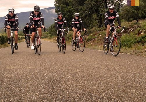 Cyclists ride to the top of the Mont Ventoux