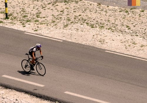 Cyclist rides at the Mont Ventoux