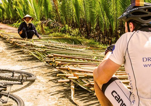 Cyclist looks at a woman that stands at bamboo stocks
