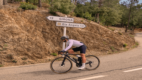 cyclist on els angels climb near girona