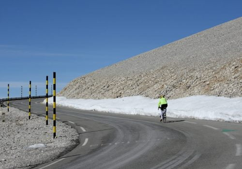 Cyclist on his way to the top of the Mont Ventoux