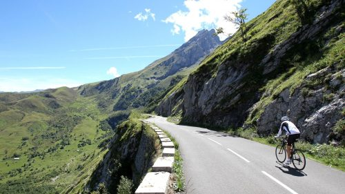 Cyclist rides to the top of the Pyrenees