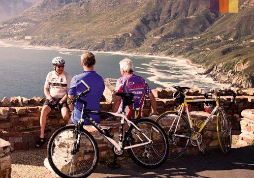 Cyclists taking a break