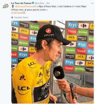 Twitter post of Le tour du France