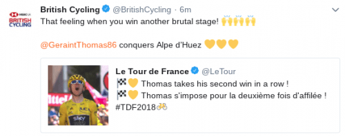 Twitter post of British Cycling