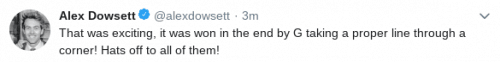 Twitter post of Alex Dowsett
