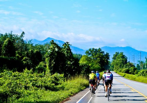Cyclists ride to the mountains
