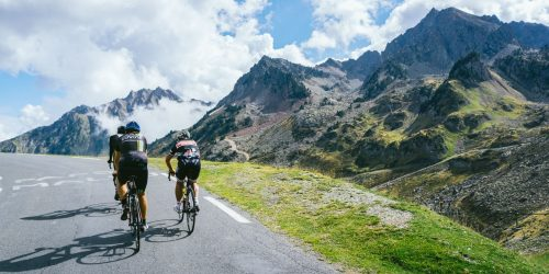 Cyclists ride on the Pyrenees