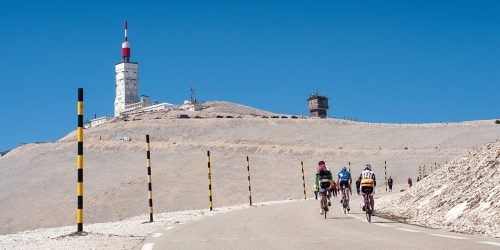 Cyclists ride on the Mont Ventoux