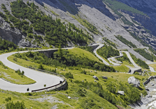 View of the Stelvio pass in Italy