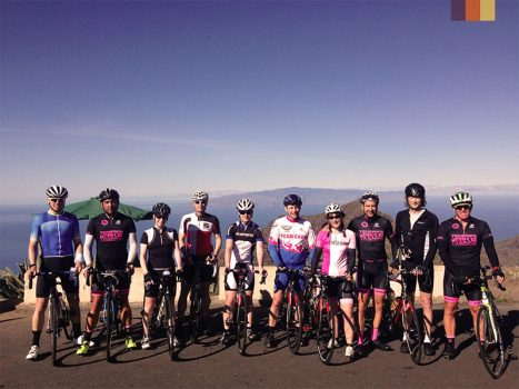 Group of cyclists at the Mount Teide