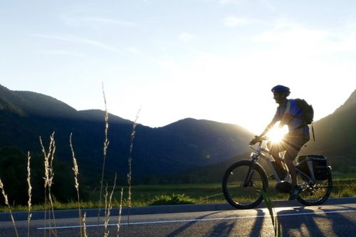 Cyclist rides on an E-bike