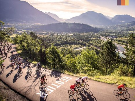 Cyclists ride the Etape du Tour in France