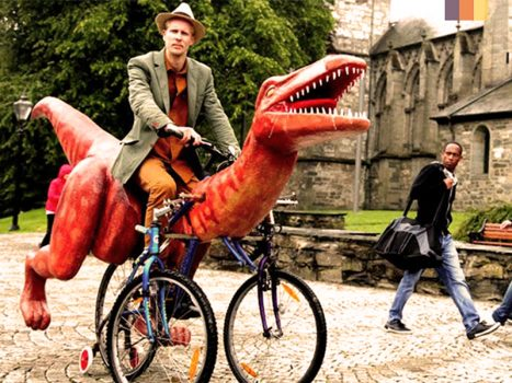 Tri - rannosaurus Rex costume for cyclists