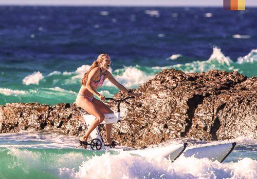 woman on a waterbike