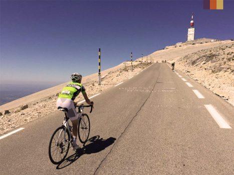Cyclist climbs the Mont Ventoux