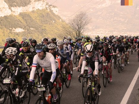Cyclists ride the Granfondo Colnago