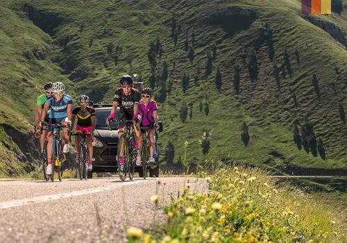 Cyclists riding in Andorra