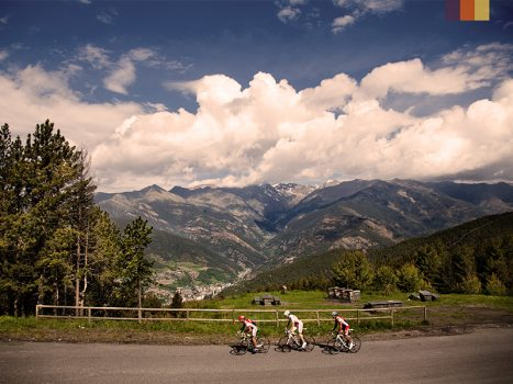 Cyclists ride in Andorra